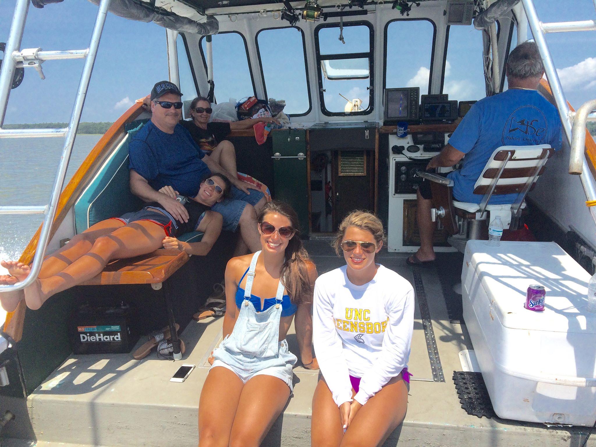 Girls hangout on boat deck