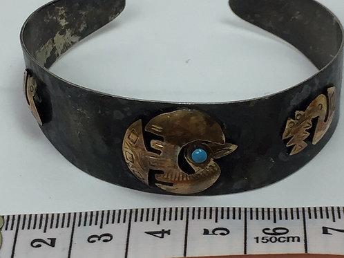 Bracelet en argent sterling, 925 et oiseaux en or 18k