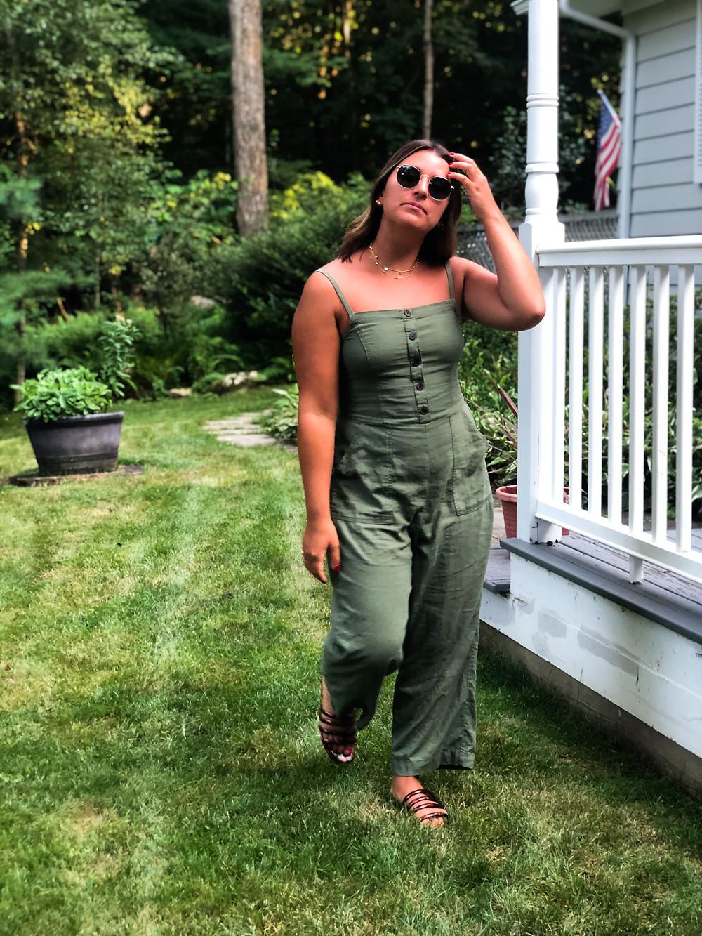 Button-Front Linen-Blend Cami Jumpsuit - Old Navy