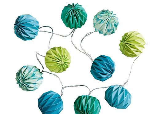 Guirlande lumineuse en papier bleu/vert