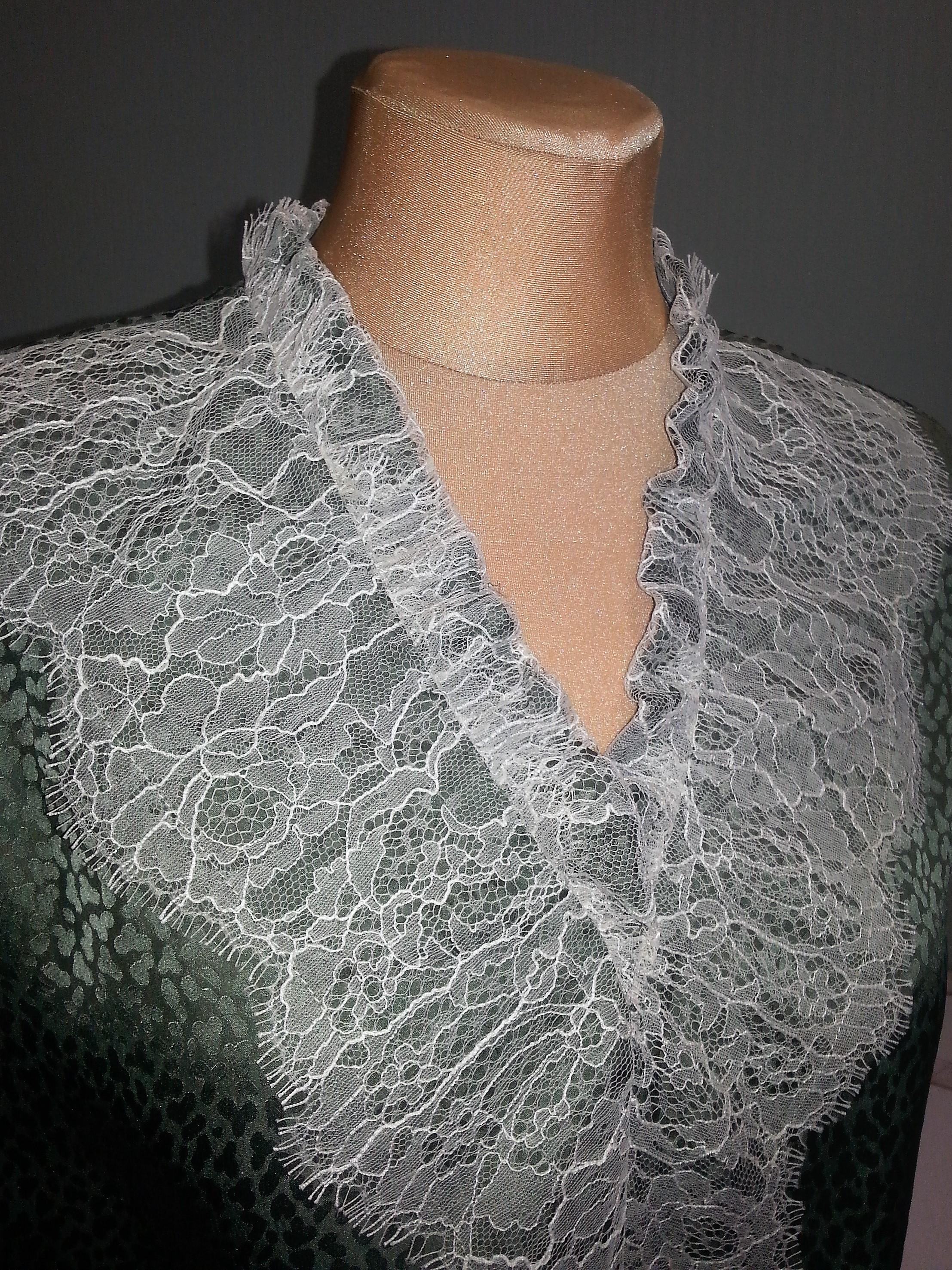 Блуза на заказ, шелк с кружевом