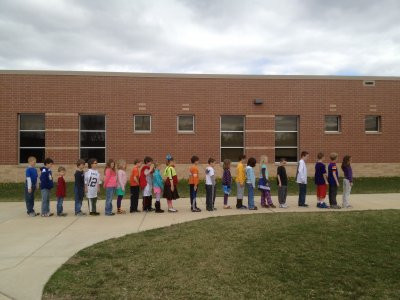 Students lined for school drill.
