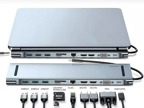 Docking Hub Tipo C + 2 Hdmi + Vga + Usb 3.0 - Mac- Pc - Baseus