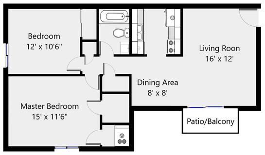 Floorplan 2 bed 1 bath 2096-03 - 885 sf.
