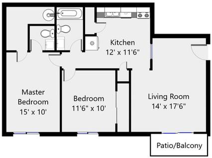 Floorplan 2 bed 1.5 bath 2050-25 - 920 s