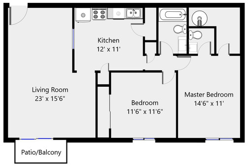 Floorplan 2 bed 1.5 bath 2050-26 - 1055
