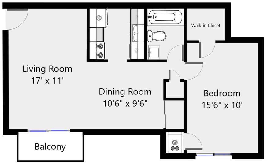 Floorplan 1 bed 1 bath 2084-08 - 710 sf.
