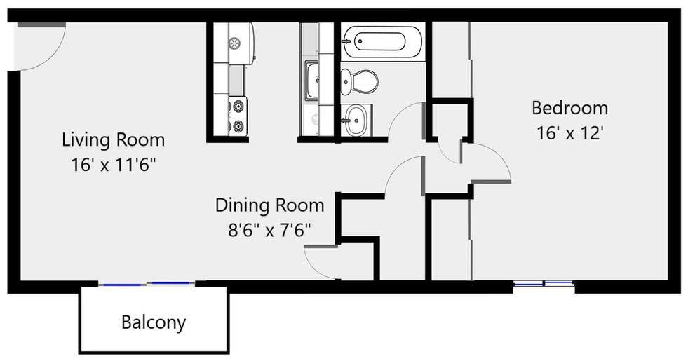 Floorplan 1 bed 1 bath 2096-06 - 735 sf.