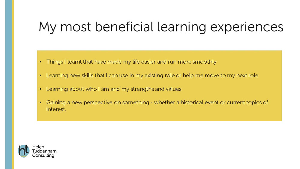 slide on most beneficial learning experiences