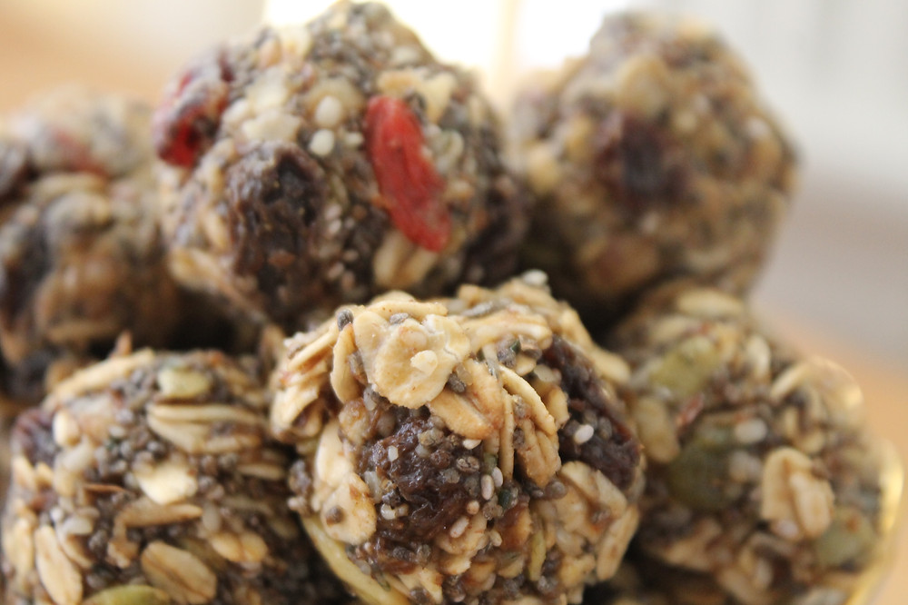 Energy Bites made dried fruit, oats, and seeds