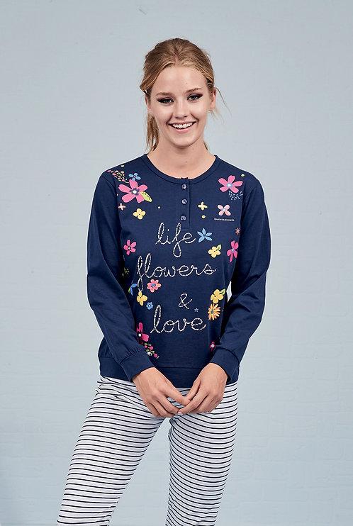 """""""Life, Flowers & Love"""", Langarm Pyjama"""
