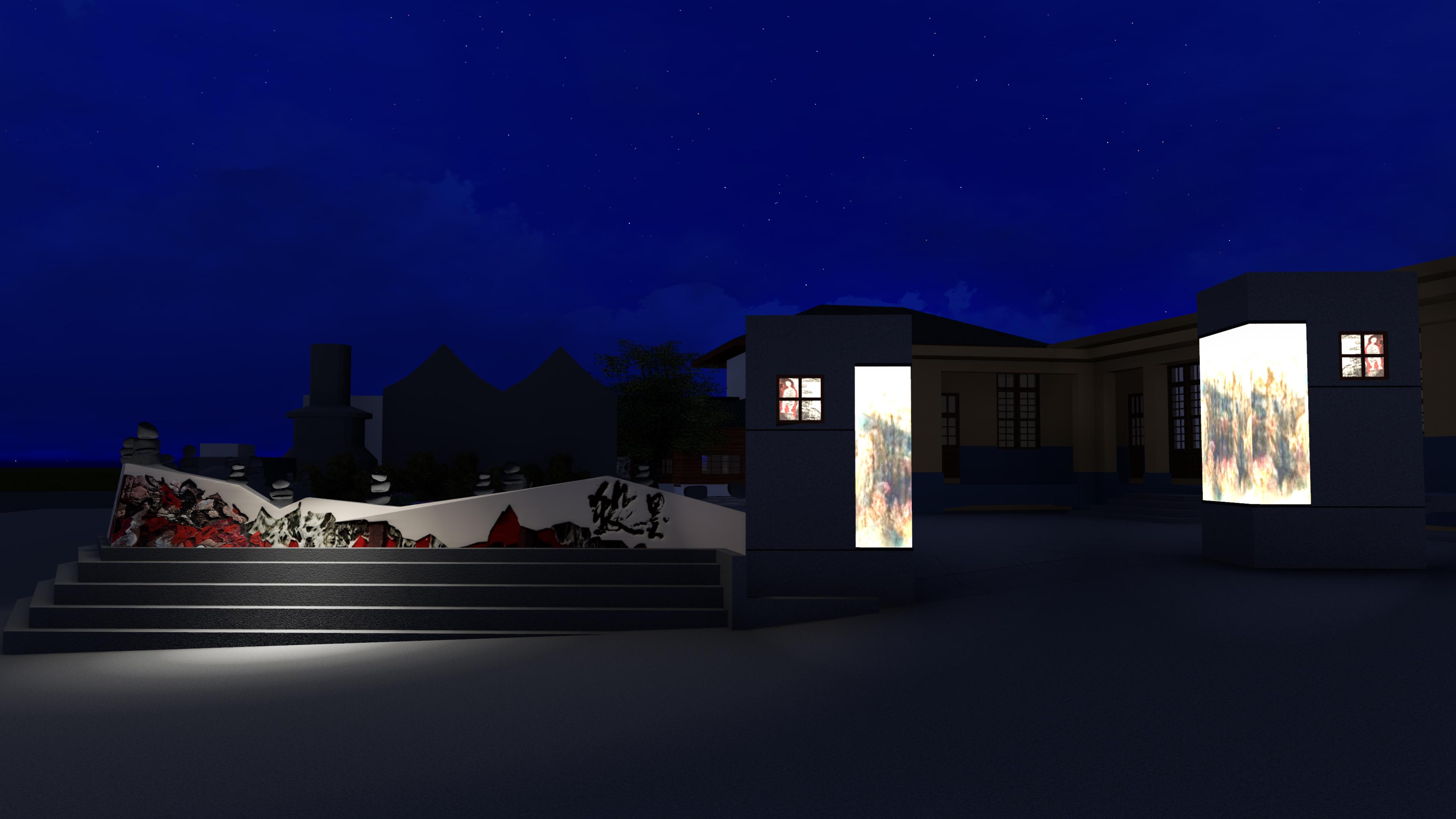 園區圍牆夜景
