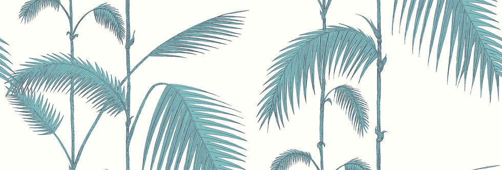 Cole & Son - The Contemp Coll Palm Leaves Teal on White 66/2012