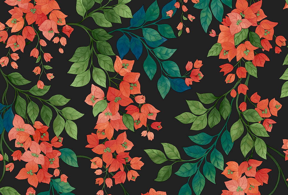 Cole & Son - Seville Bougainvillea Rouge, Leaf Green & Sky on Charcoal 117/6017