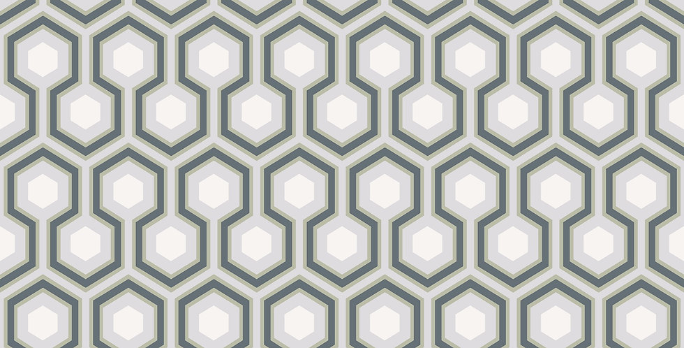 Cole & Son - The Contemp Coll Hicks' Hexagon Ink & White on Heath Grey 66/8055