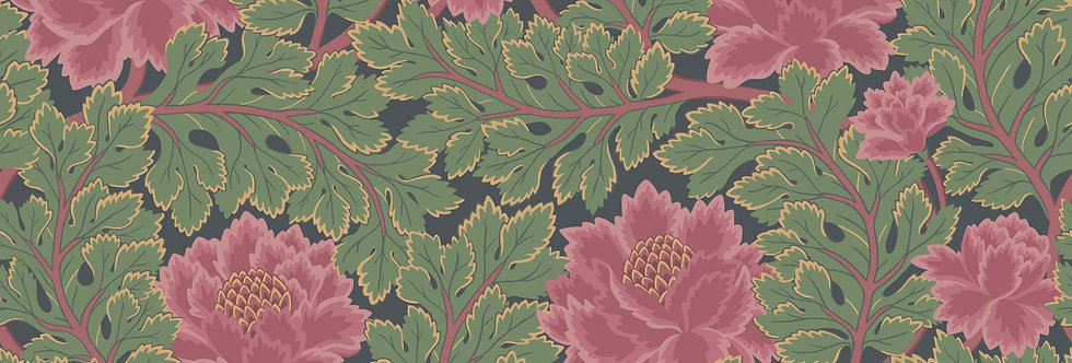 Cole & Son - The P/wood Coll Aurora Rose & Forest on Charcoal 116/1002