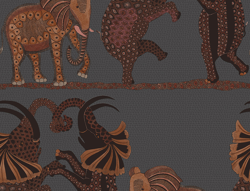 Cole & Son - Ardmore Safari Dance Charcoal + Reds 109/8040