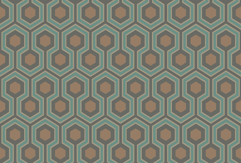 Cole & Son - Contemporary Restyled Hicks' Hexagon Teal & Gold 95/3018