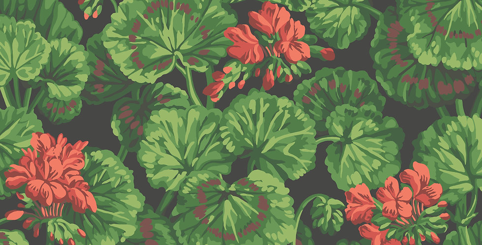 Cole & Son - Seville Geranium Rouge & Leaf Greens on Black 117/11033