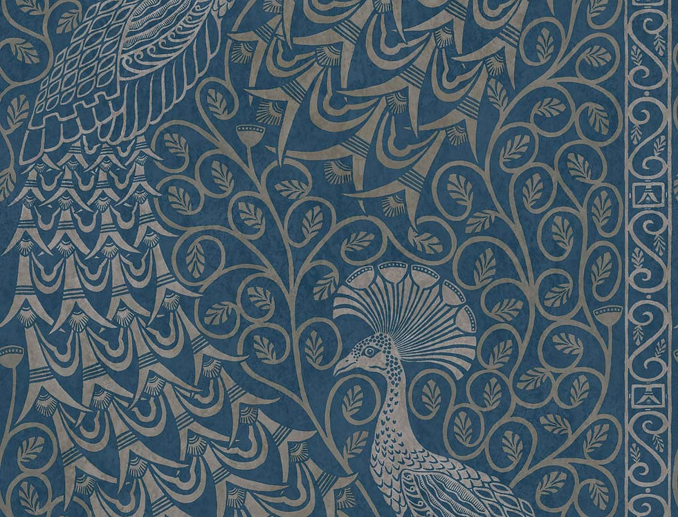 Cole & Son - The P/wood Coll Pavo Parade Metallic Silver on Denim 116/8029