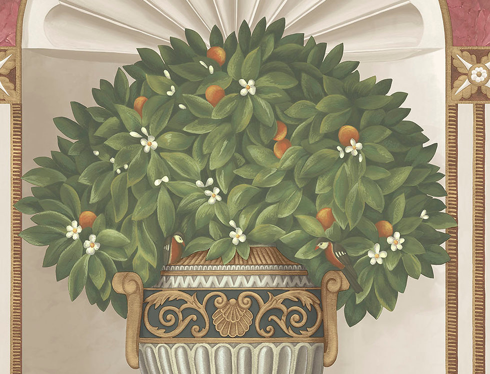 Cole & Son - HRP GM Spring Green & Rose on Stone 118/11026