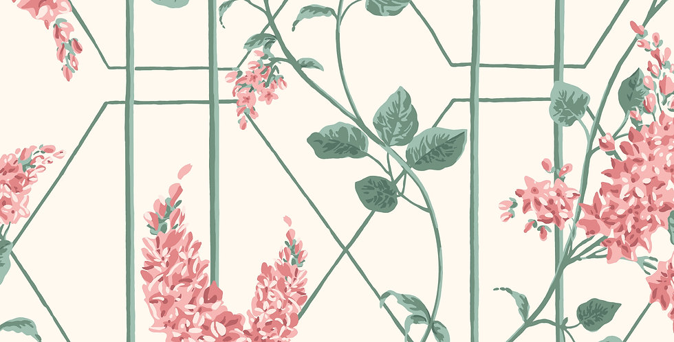 Cole & Son - Botanica Wisteria Coral & Sage on Parchment 115/5012