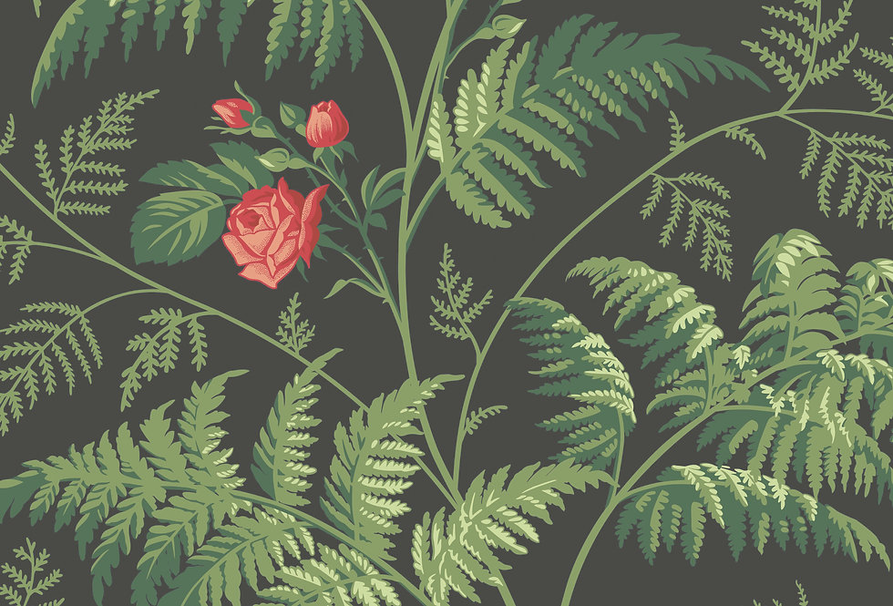 Cole & Son - Botanica Rose Red & Leaf Green on Charcoal 115/10030