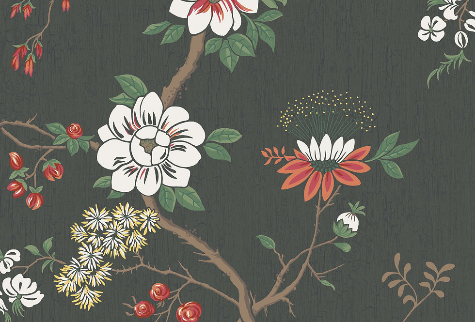 Cole & Son - Botanica Camellia White & Red on Charcoal 115/8026