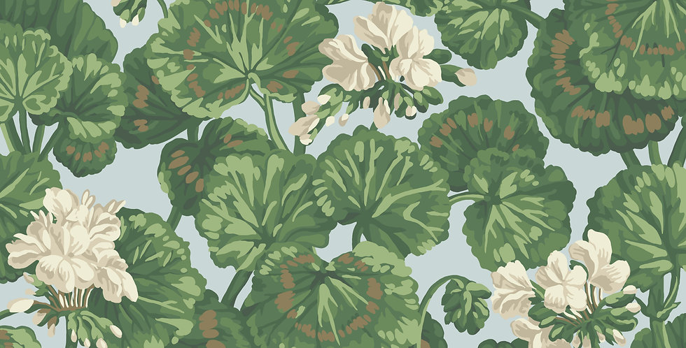 Cole & Son - Seville Geranium White & Sage on Seafoam 117/11035