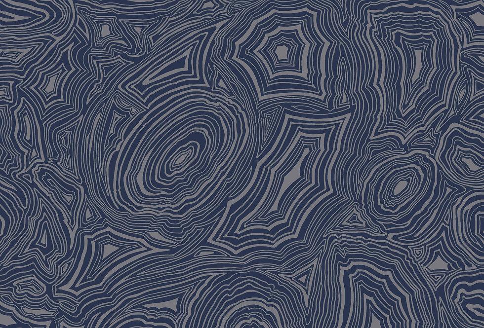 Cole & Son - Fornasetti Senza Tempo Malachite Royal Blue & Silver 114/17034
