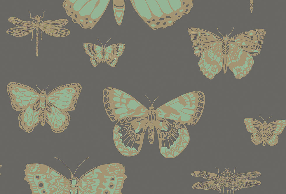 Cole & Son - Whimsical Butterflies & Dragonflies Green on Charcoal 103/15067