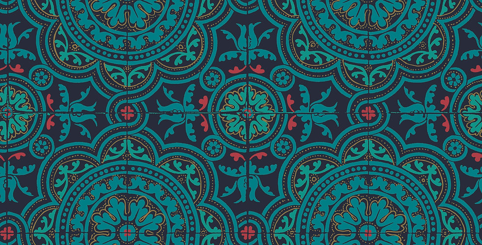 Cole & Son - Seville Piccadilly Petrol, Red & Metallic Gold on Ink 117/8021