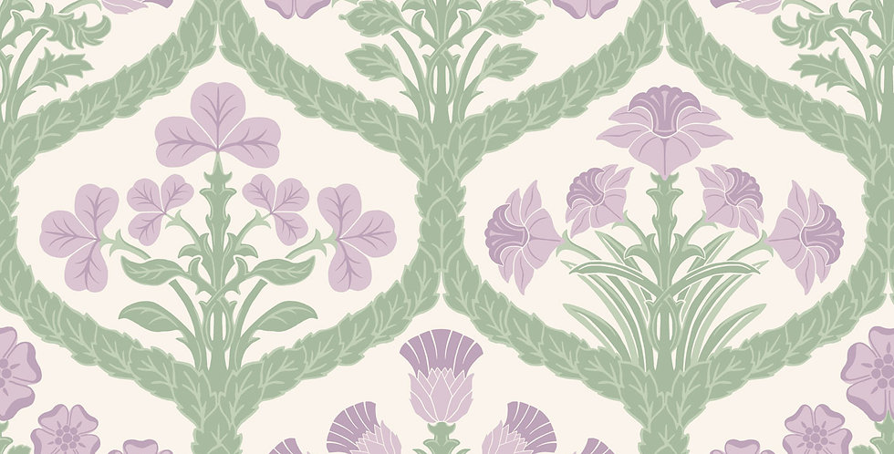 Cole & Son - The P/wood Coll Floral Kingdom Mulberry, Green, Parchment 116/3012