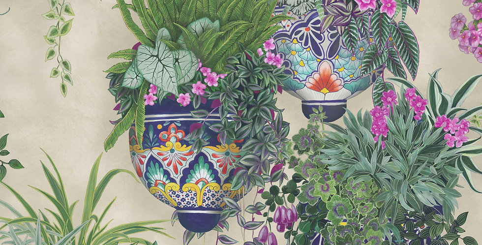 Cole & Son - Seville Talavera Magenta & Spring Greens on Stone 117/9027