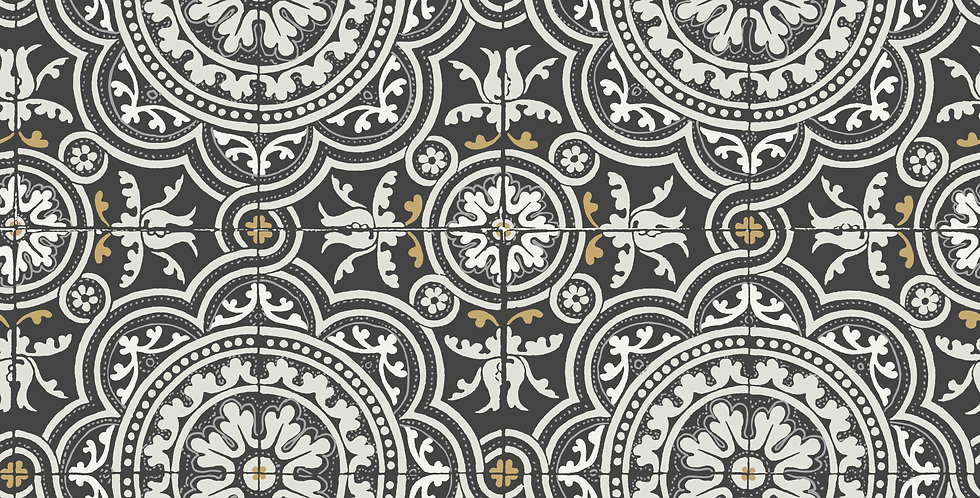 Cole & Son - Seville Piccadilly Grey & Metallic Gold on Black 117/8022