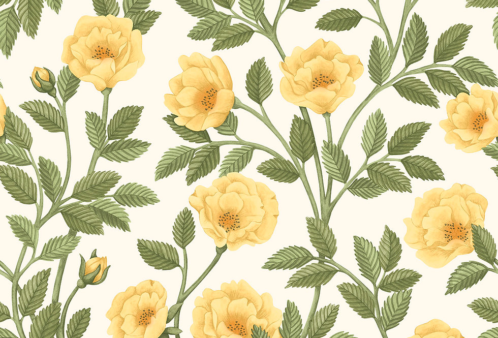 Cole & Son - HRP GM Marigold & Olive Green on White 118/7015