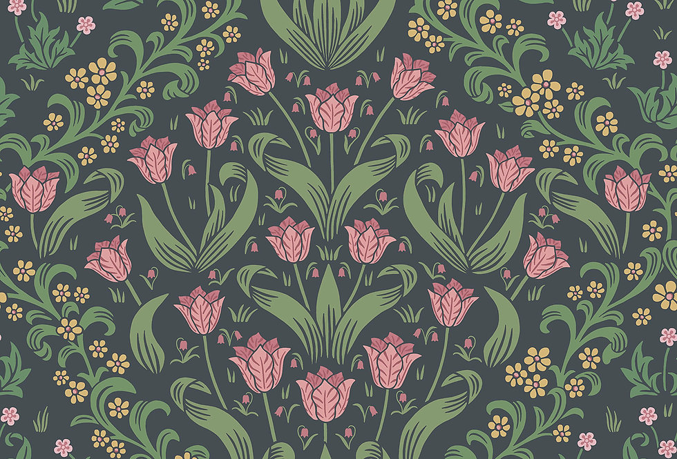 Cole & Son - HRP GM Plum & Olive Green on Charcoal 118/2003