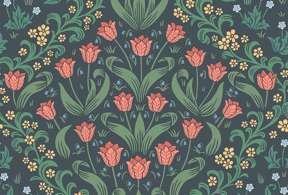 Cole & Son - HRP GM Rouge & Forest Green on Charcoal 118/2002