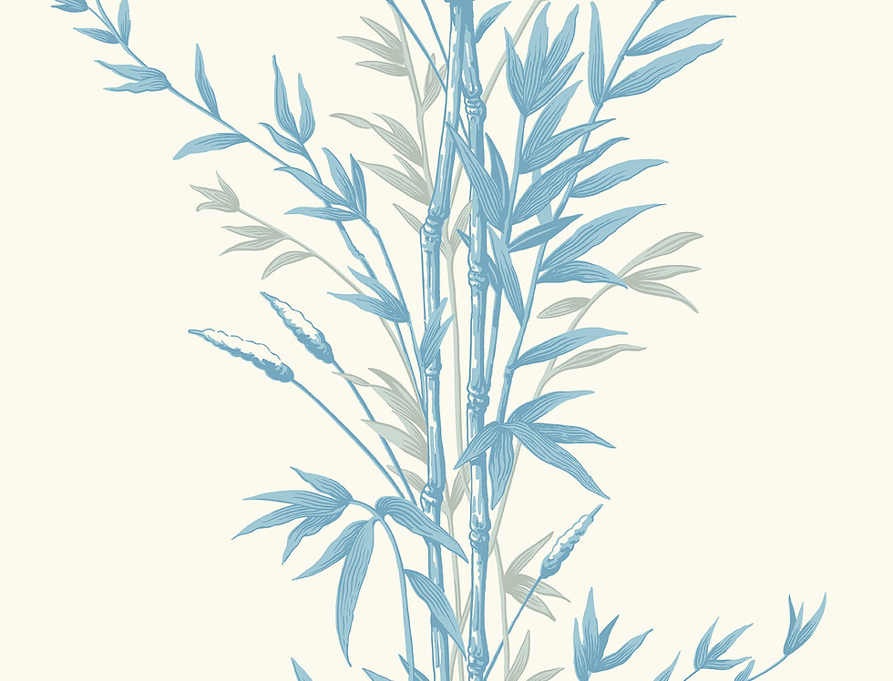 Cole & Son - Archive Anthology Bamboo Blue on Ivory 100/5022