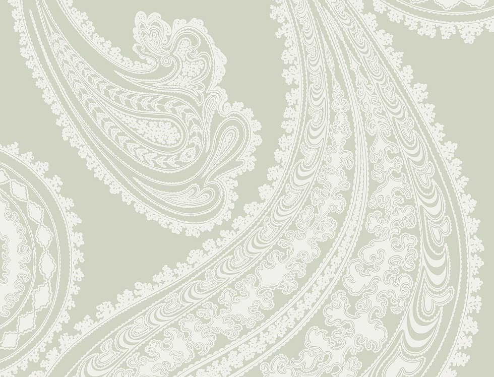 Cole & Son - The Contemp Coll Rajapur White on Soft Olive 66/5036