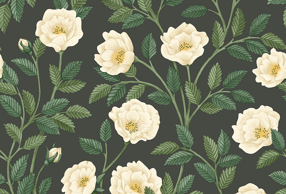 Cole & Son - HRP GM Cream & Forest Green on Charcoal 118/7016