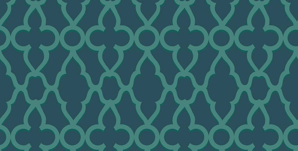 Cole & Son - The P/wood Coll Treillage Viridian on Ink 116/6023