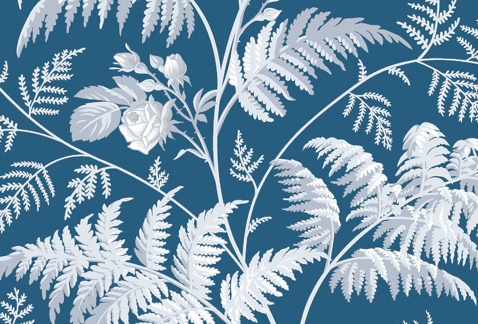 Cole & Son - Botanica Rose White & Ice Blue on Denim 115/10031