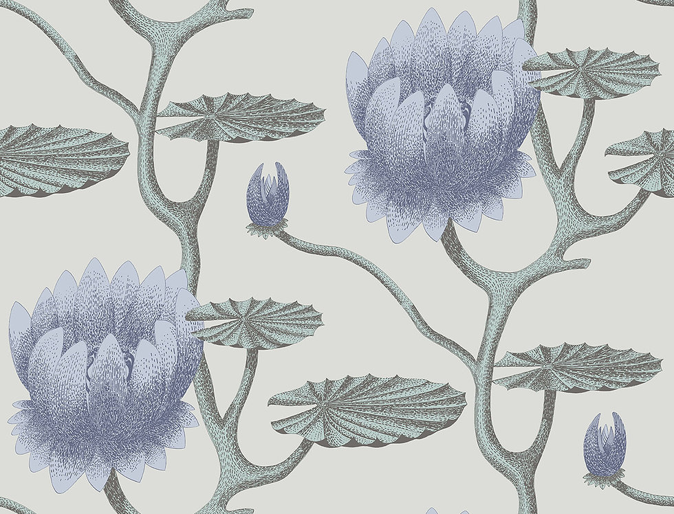 Cole & Son - Contemporary Restyled Summer Lily Blue, Aqua, Pearl 95/4024