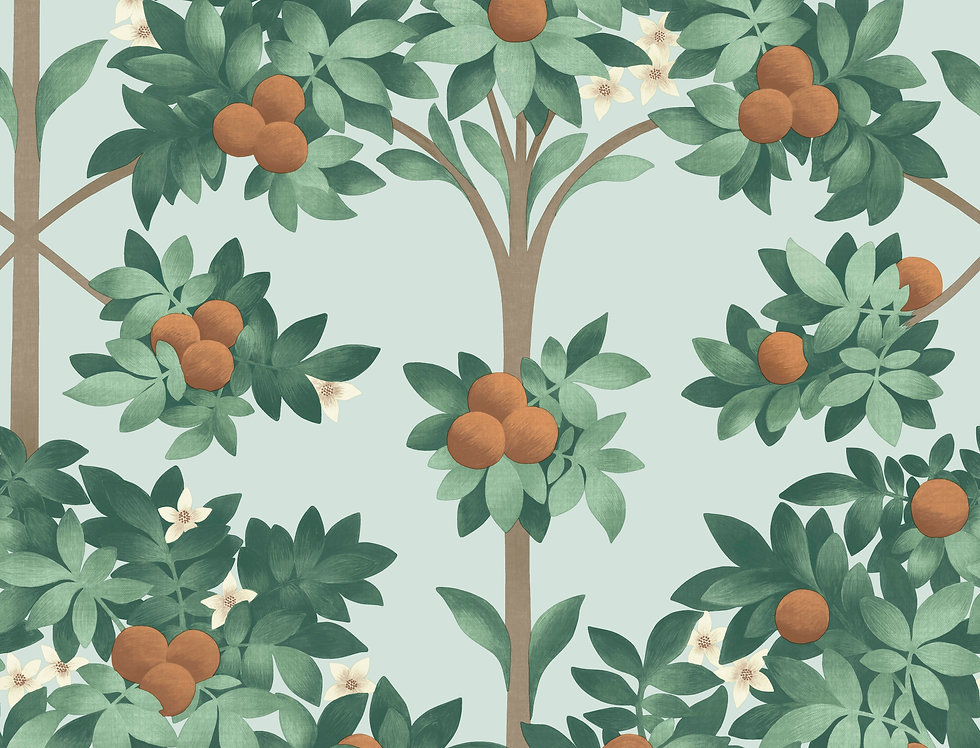 Cole & Son - Seville Orange Blossom Burnt Orange & Mint on Seafoam 117/1004