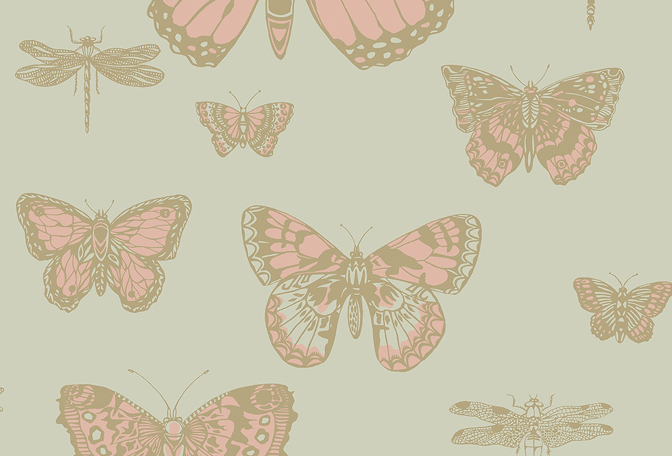 Cole & Son - Whimsical Butterflies & Dragonflies Pink on Olive 103/15063