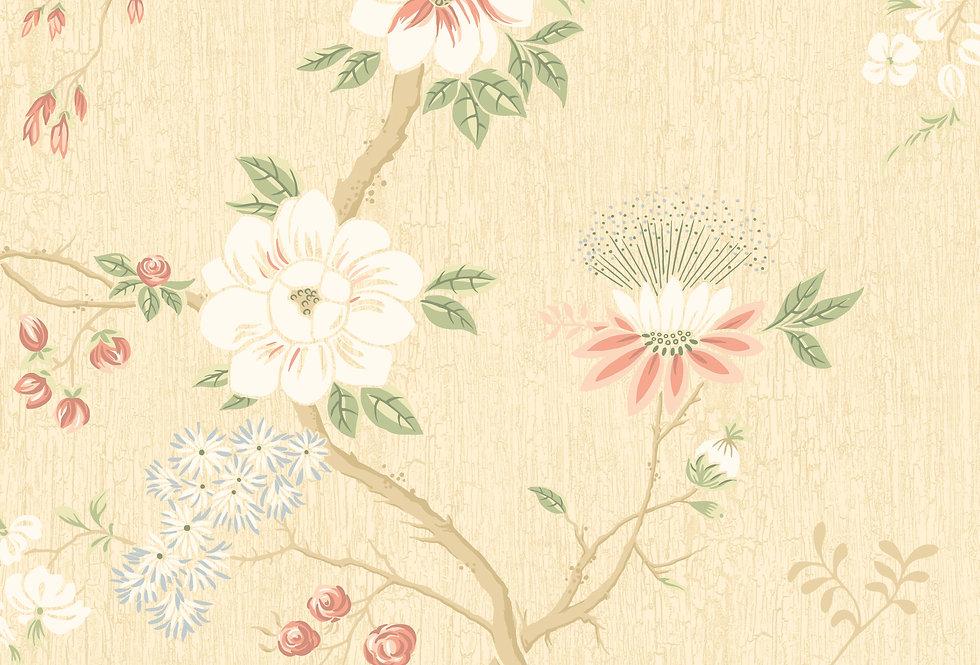 Cole & Son - Botanica Camellia Coral & Sage on Buttercup 115/8023