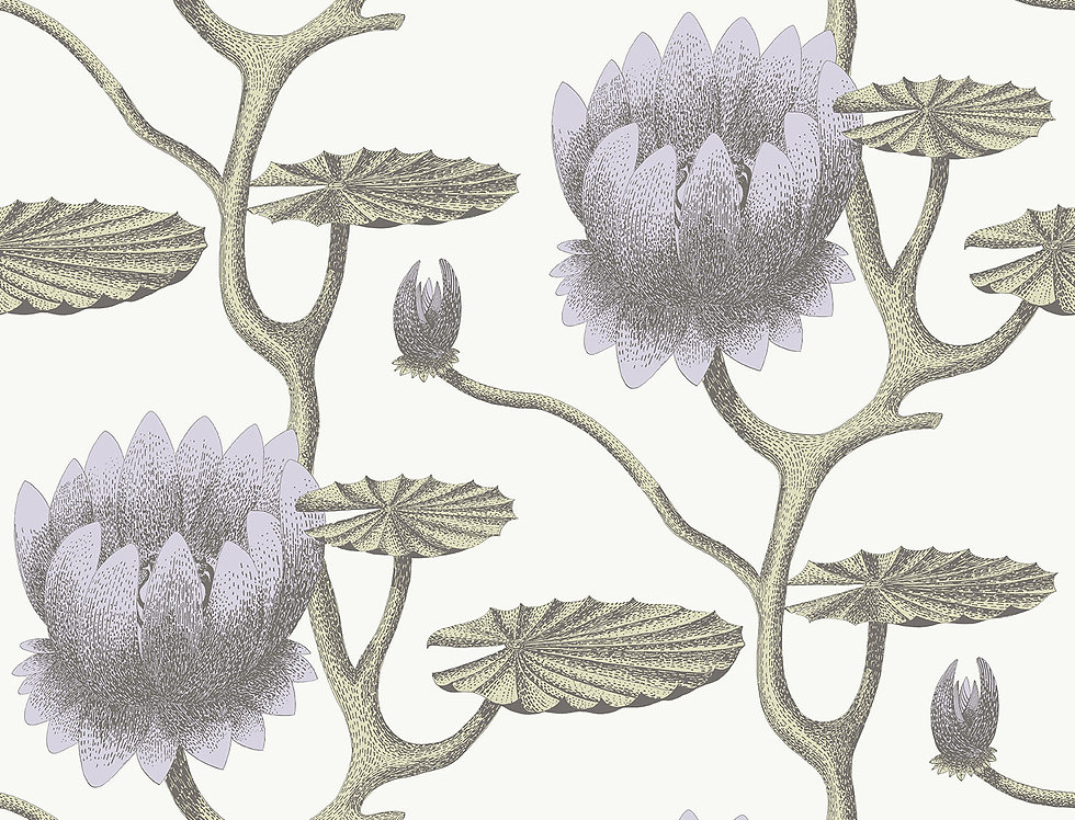 Cole & Son - Contemporary Restyled Summer Lily Lilac, Green, White 95/4023