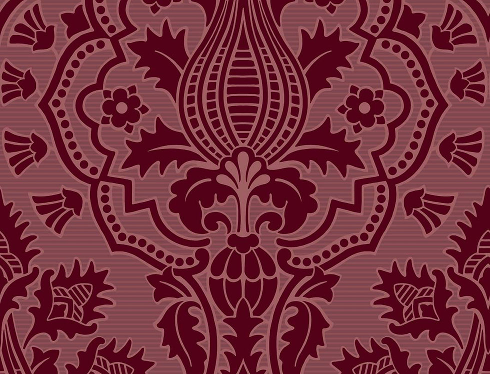Cole & Son - The P/wood Coll Pugin Palace Flock Claret 116/9034