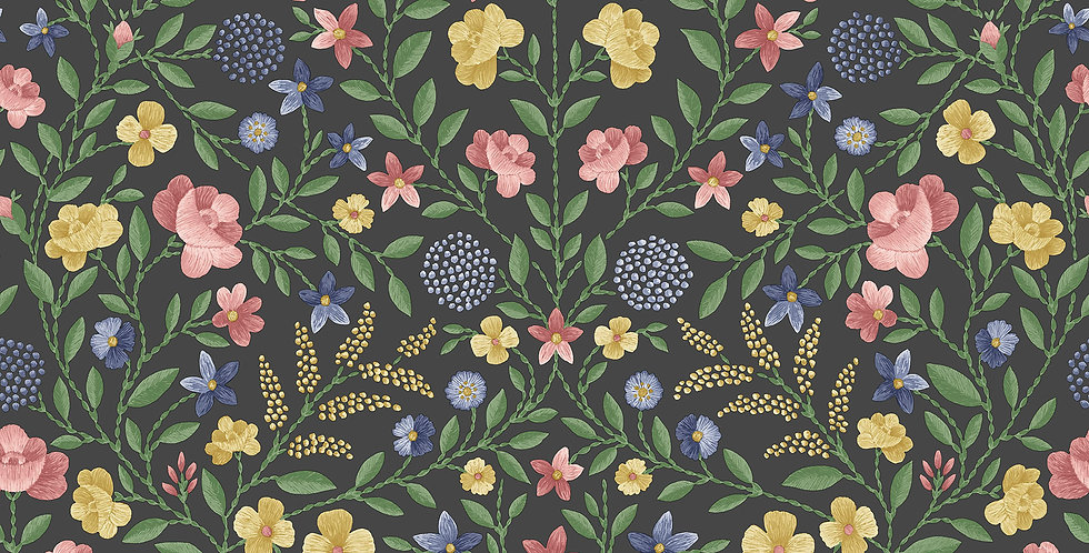 Cole & Son - HRP GM Yellow, Rose & Hyacinth Blue on Charcoal 118/13030